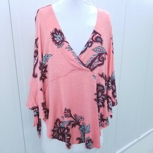 Free People open cape poncho tie blouse